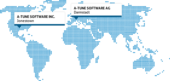world map - a-tune software inc / Round Rock (USA) and a-tune software AG in Darmstadt (Germany)